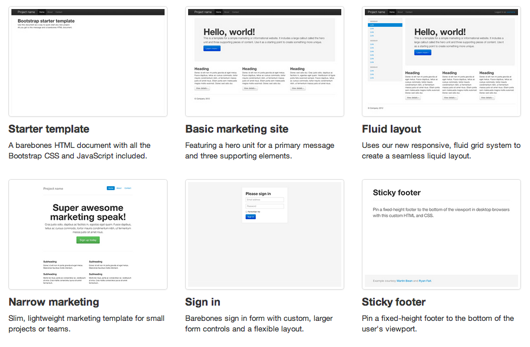 Bootstrap 2.2.0 templates