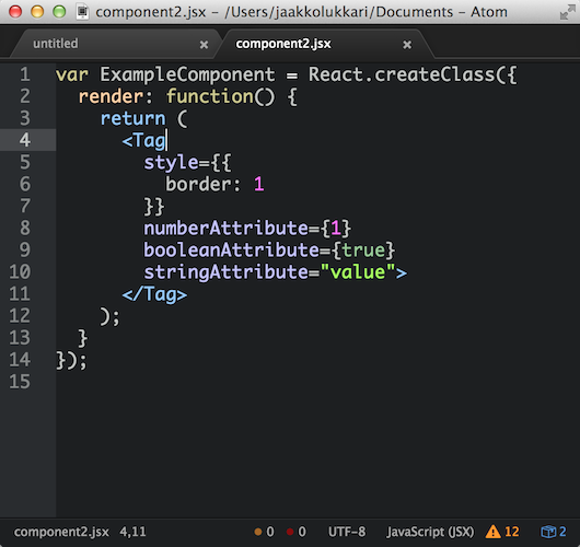 React in Atom
