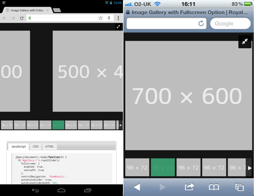RoyalSlider running on Android and iOS