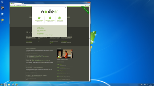 Downloading Node's Windows installer