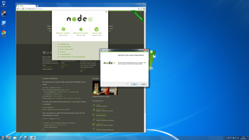 Running the Node Windows installer