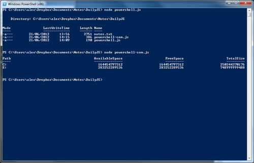 PowerShell from Node