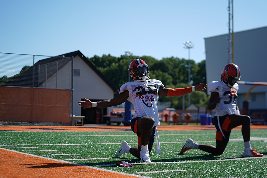 Syracuse practices during training camp.