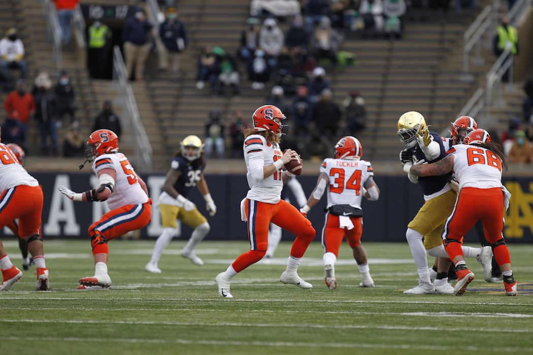 Syracuse quarterback Rex Culpepper steps back to pass in the first quarter at Notre Dame Stadium between Notre Dame and Syracuse.
