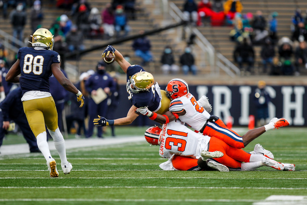 Notre Dame's Michael Mayer reaches for extra yards on his run in the No. 2 Notre Dame-Syracuse matchup inside Notre Dame Stadium.