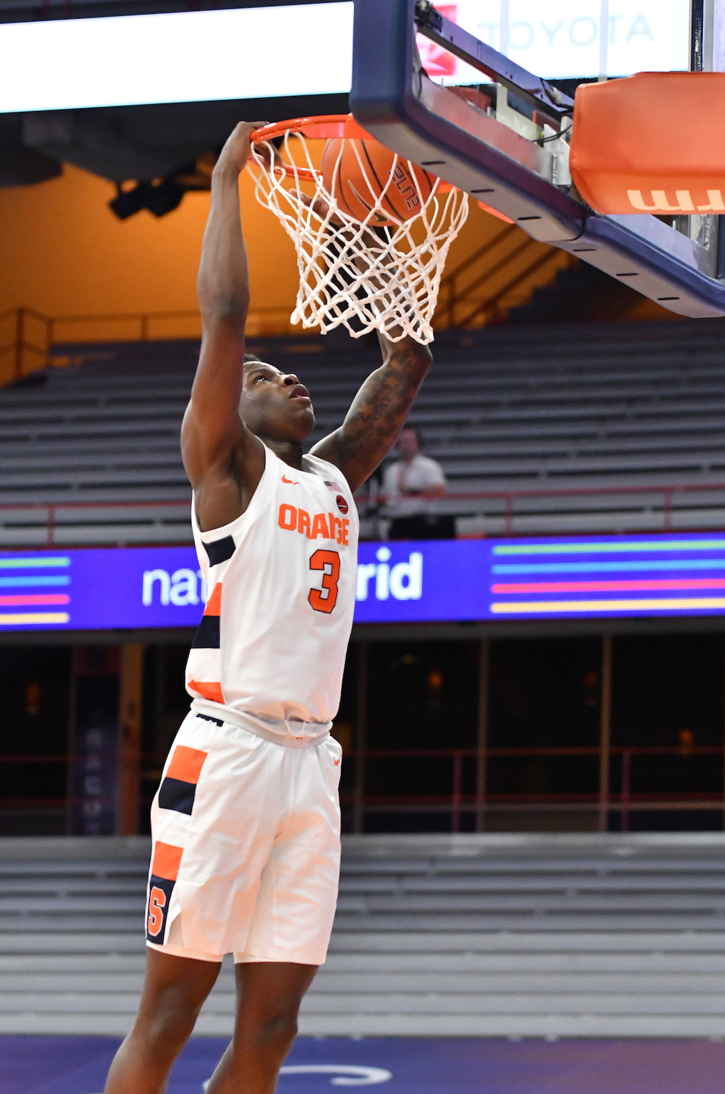 Dec 5, 2020; Syracuse, New York, USA; Syracuse Orange forward Kadary Richmond (3) dunks the ball in the first half against the Rider Broncs at the Carrier Dome. Mandatory Credit: Mark Konezny-USA TODAY Sports