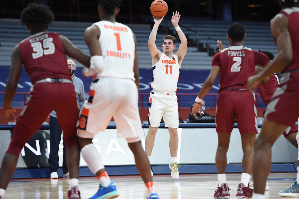 Syracuse Orange guard Joseph Girard III (11) for three in the second half of the Syracuse-Rider game at the Carrier Dome Dec. 5 2020, in Syracuse, New York. Dennis Nett | dnett@syracuse.com
