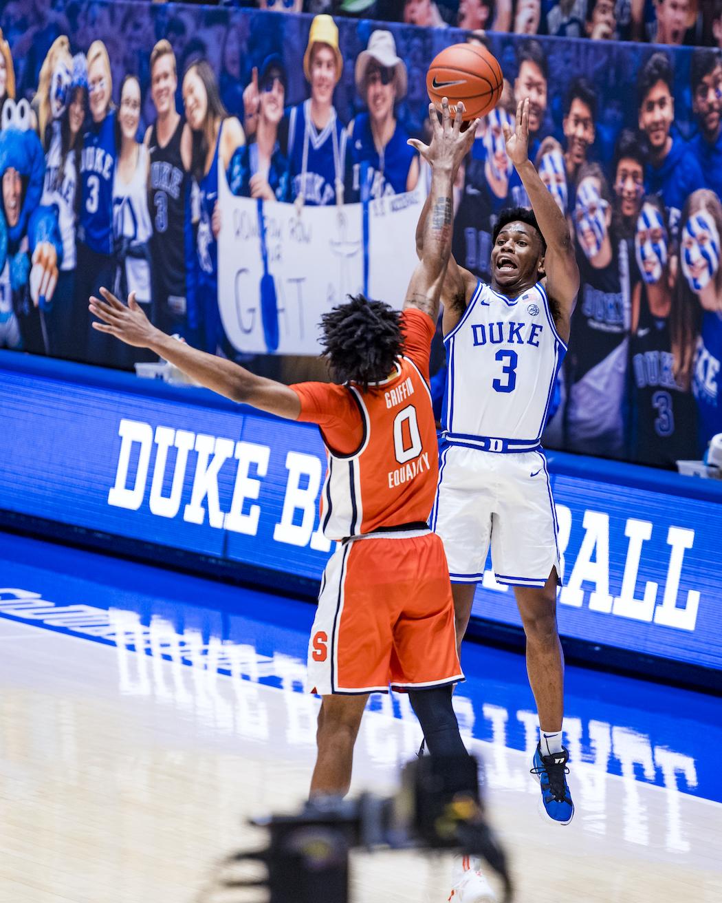 Duke Men's Basketball takes on the Syracuse University Orange in the first half at the Cameron Indoor Stadium on February 22, 2021 at Durham, North Carolina.