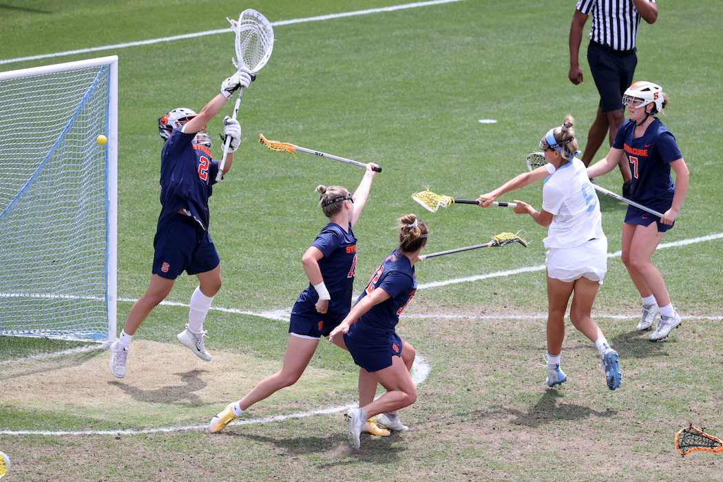 Syracuse's defense tries to make a save.
