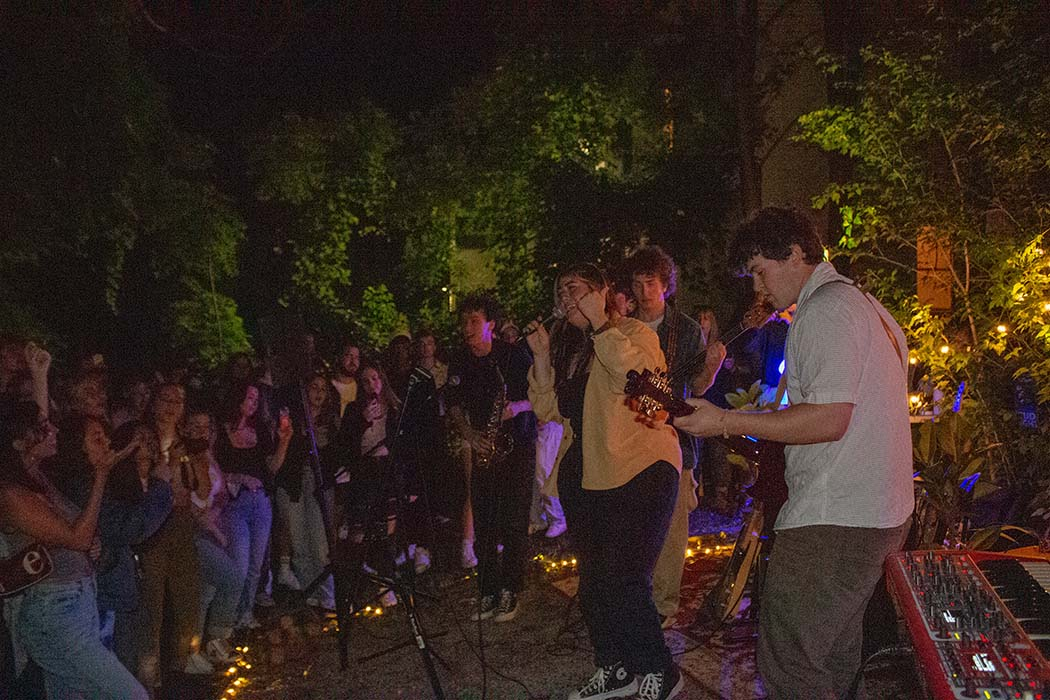 Performers and spectators at the NONEWFRIENDS.  house show