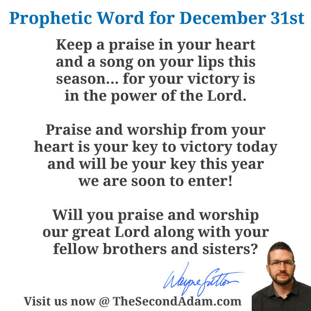 December 312015 Daily Prophetic Word