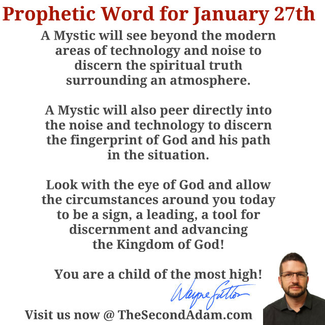January 27 2016 Daily Prophetic Word