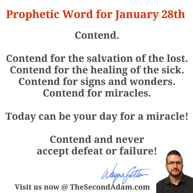 January 28 2106 Daily Prophetic Word