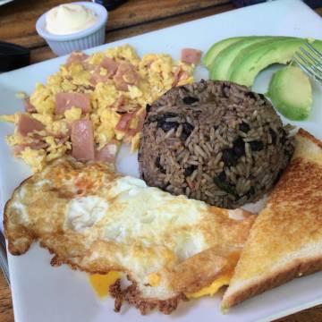 Gallo Pinto breakfast at Soda Tiquicia, Santa Teresa, Costa Rica