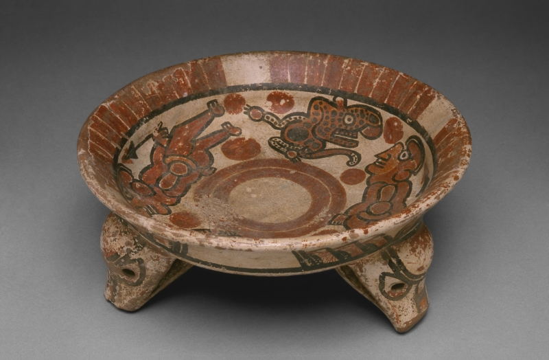 Tripod Bowl with Painted Jaguars and Human-like Figures