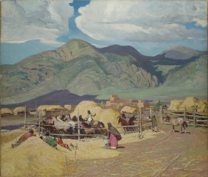 Indians Threshing Wheat - Taos