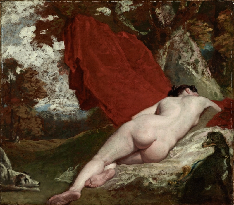 Reclining Female Nude in a Landscape with Two Dogs