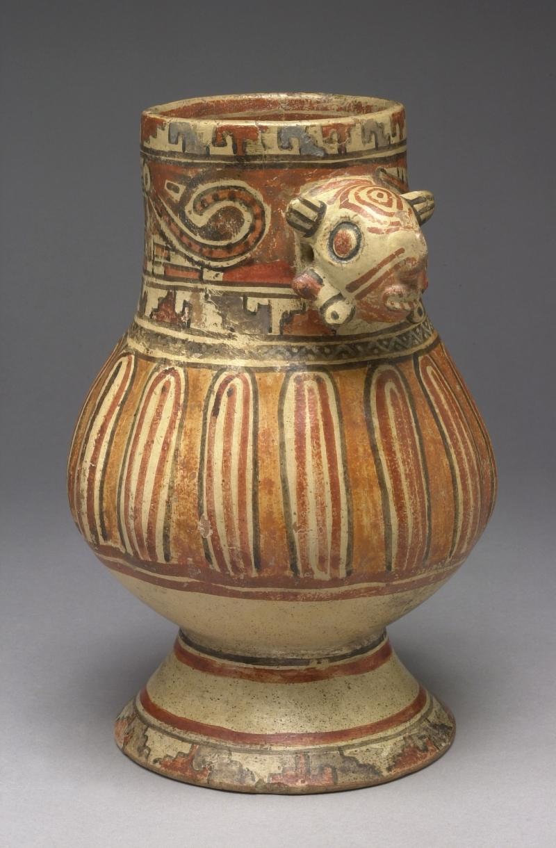 Fluted Pedestal Jar with Modeled Head