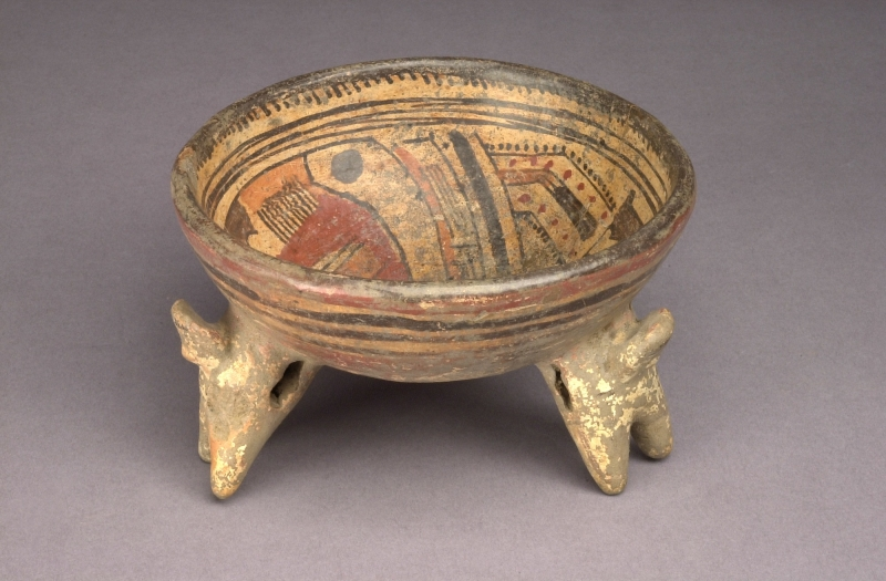 Polychrome Tripod Bowl with Figurine Supports