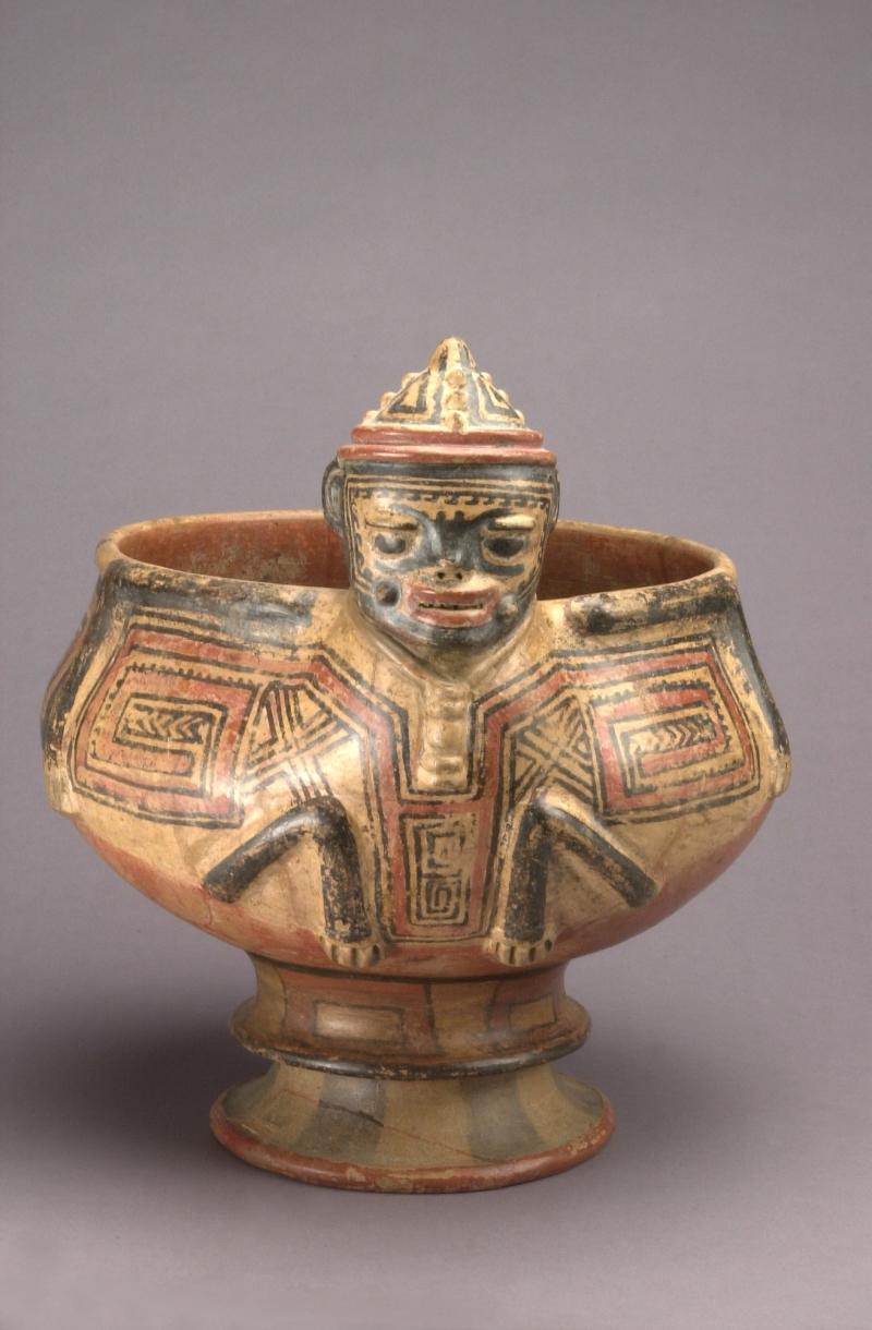 Pedestal Bowl with Bat-Man Figure