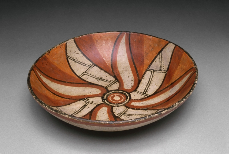 Bowl with Painted Pin-Wheel Flower