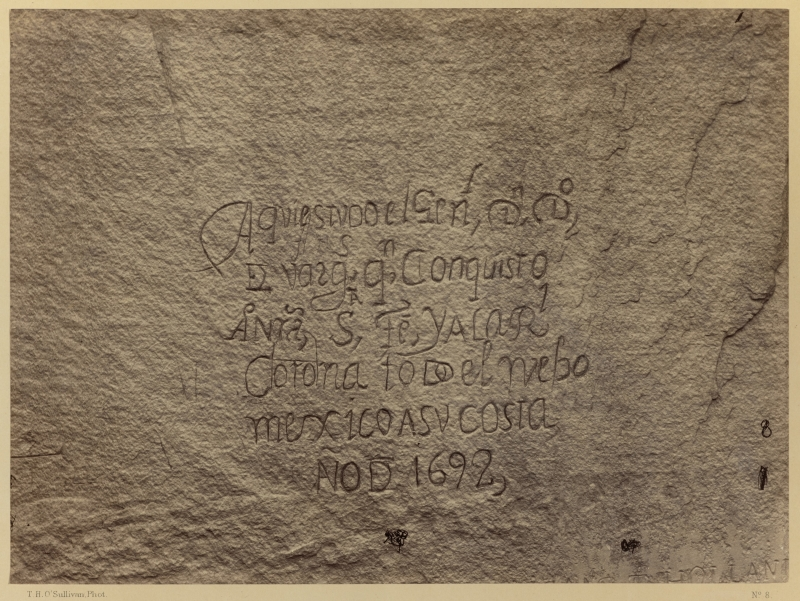 Historic Spanish Record of the Conquest. South Side of Inscription Rock, N.M.