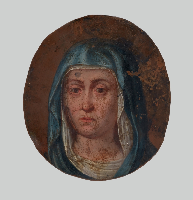 Double-Sided Miniature Painting of the Virgin Mary and St. Teresa of Avila from a Devotional Locket (Relicario)