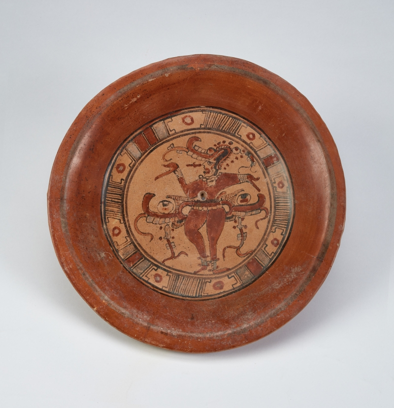 Tripod Plate with Dancing Maize God