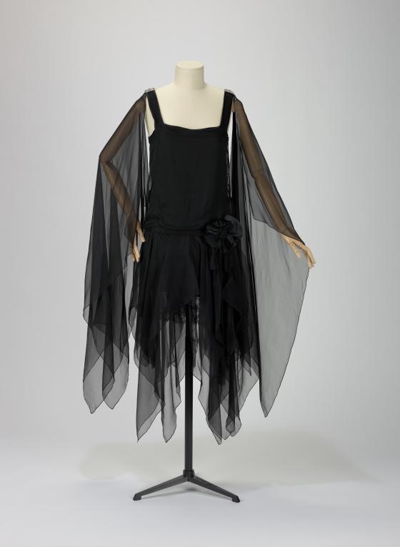 Catherine Deneuve Black Chiffon Dress