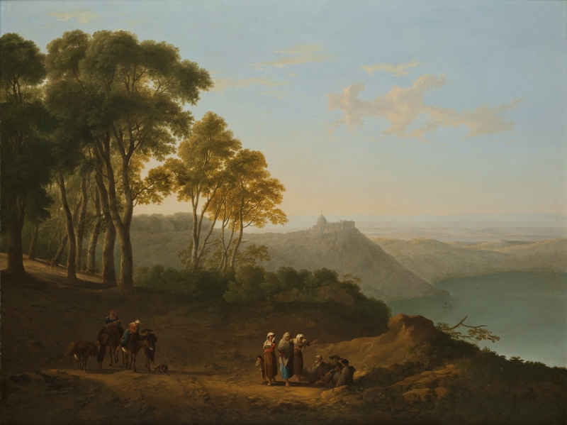 Figures by Lake Albano with Castel Gandolfo