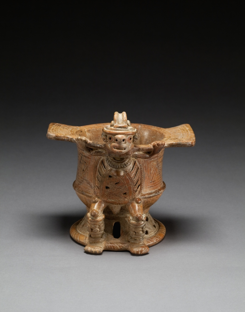 Pedestal Bowl with Costumed Bat-Man Figure