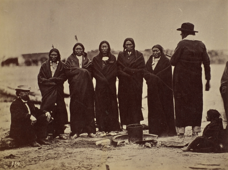 Palladay, Fast Bear (Quick Bear), Spotted Tail, White Eyes, Swift Bear, Whirlwind Soldier, Big Mandan, Mule's wife, and Big Partzan's daughter, Fort Laramie, WY