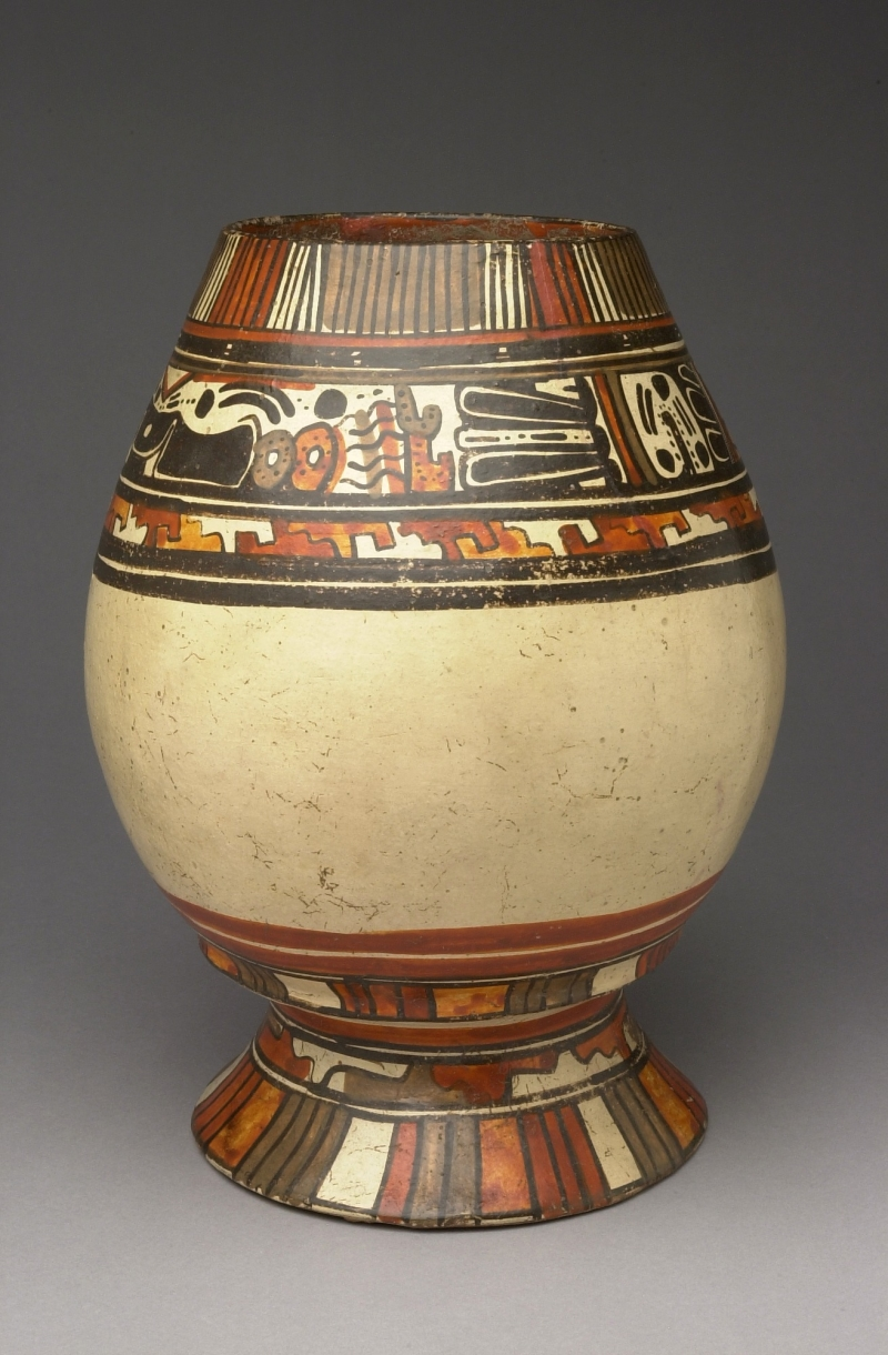 Pedestal Jar with Painted Imagery