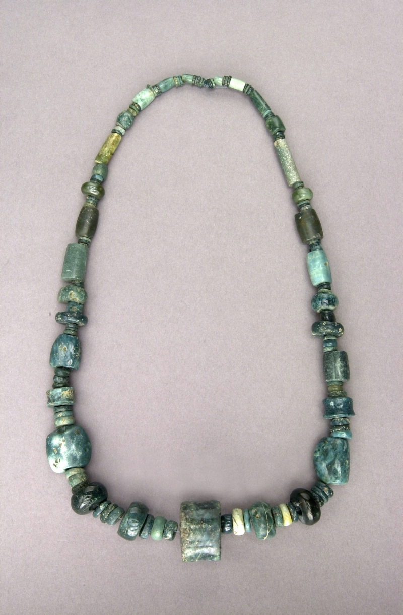 Necklace of Jade Beads and Ear Spool Pendant