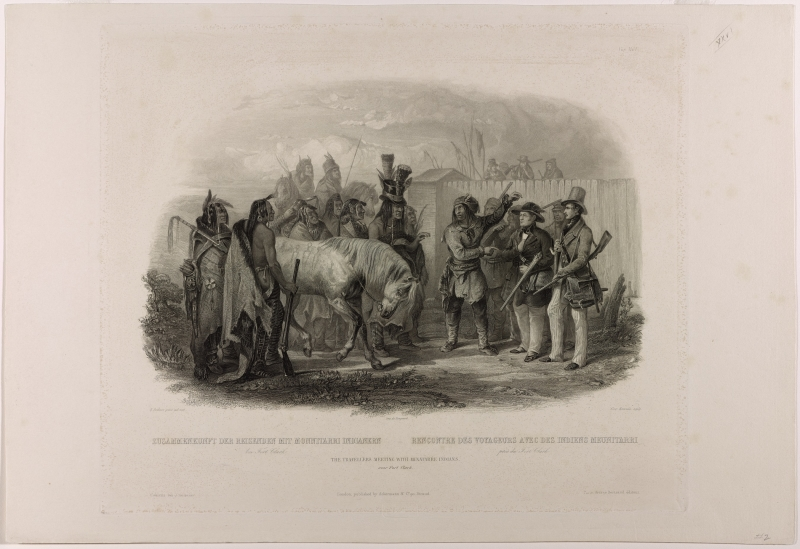 The Travellers Meeting with Minatarre Indians near Fort Clark