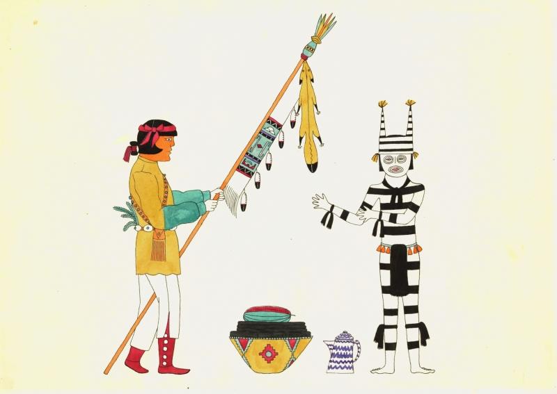 Koshare and Corn Dance Banner Bearer