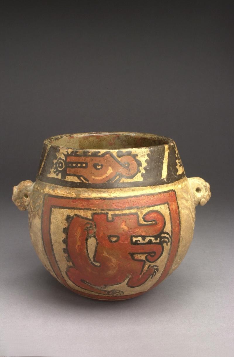 Jar with Stylized Crocodile Imagery and Animal Head Lugs