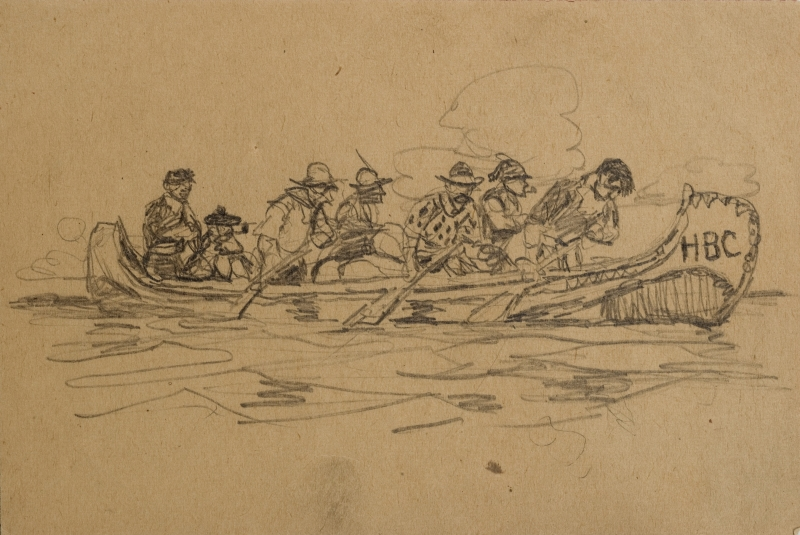 Untitled (Seven men in a canoe)