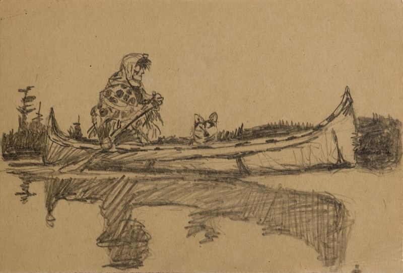 Untitled (Woman in canoe with dog)