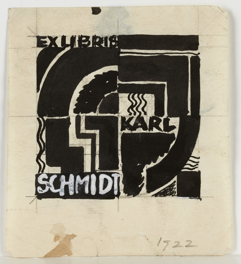 ex libris, Karl Schmidt bookplate (original graphic design)