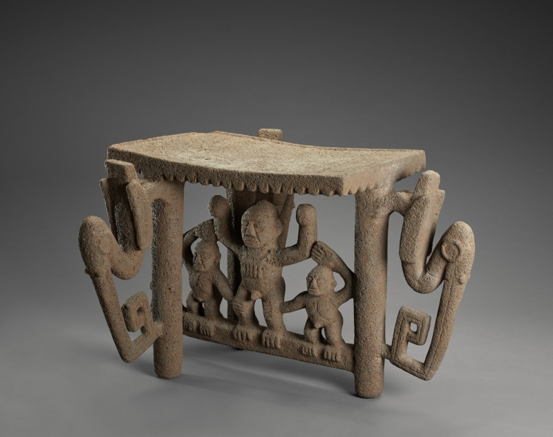 Flying panel Metate with Figures and Birds