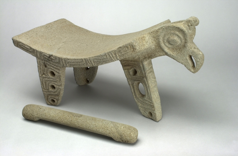 Parrot-head Metate and Mano Set