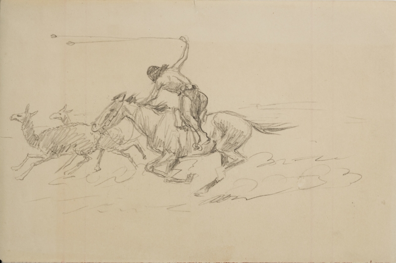 Untitled (Indian on horse chasing deer)