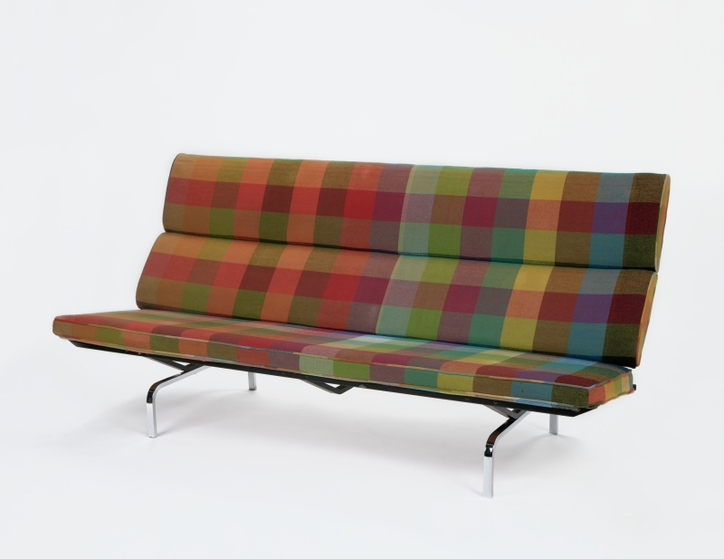 Sofa Compact with Colorado Plaid textile designed by Alexander Girard