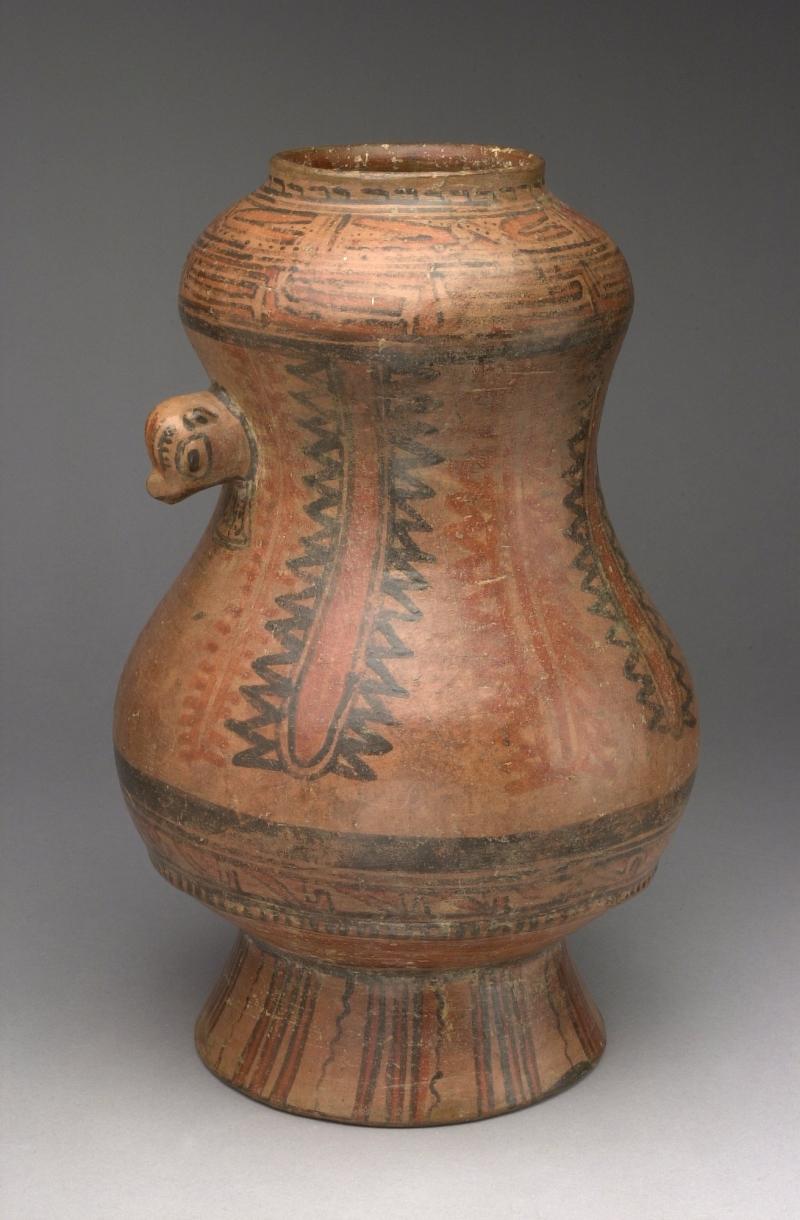 Waisted Pedestal Jar with Animal Head Lug