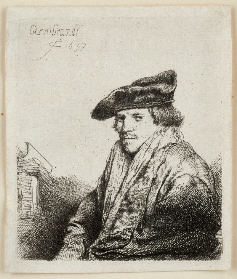 Young Man in a Velvet Cap with Books beside him (Ferdinand Bol?)