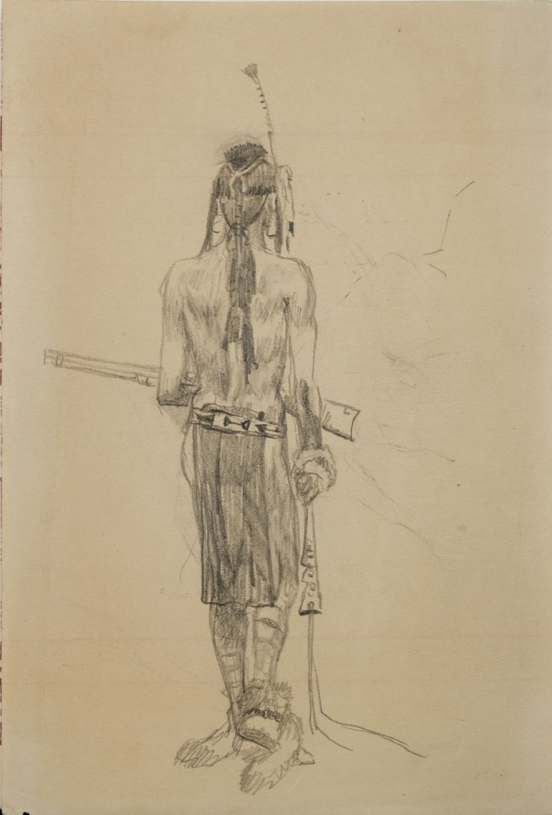 Untitled (Back of an Indian with rifle)