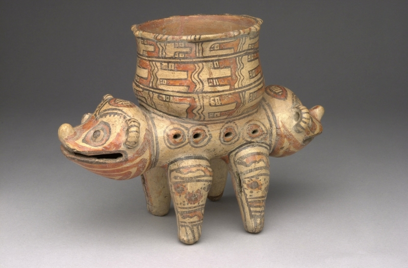 Two-headed Animal with Bowl atop Back