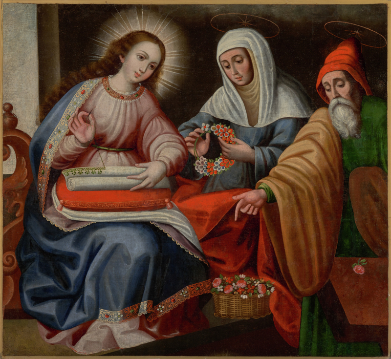 Virgin Embroidering with Saints Anne and Joaquim