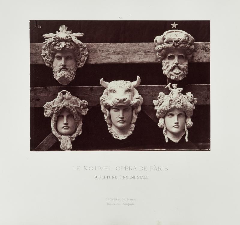 Masques du vestibule circulaire (Masks of the circular vestibule), plate 35 from Le Nouvel Opéra de Paris: Sculpture Ornementale